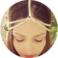 HA115 - Metal multilayer thick chain tassel headband