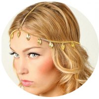 HA118 - Shiny leaf shape chain headband
