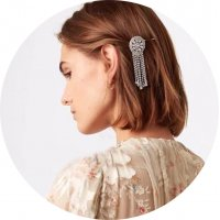 HA122 - Rhinestone tassel flower hair clip