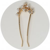 HA128 - Korean hollow crystal flower hairpin