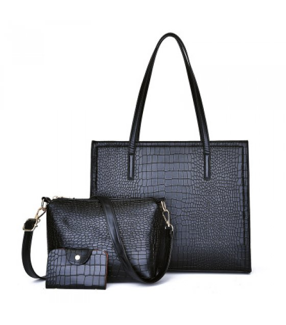 H1001 - Crocodile pattern three-piece handbag