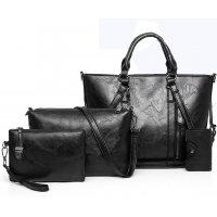 H1027 - Retro Oil Wax 4pc Shoulder Handbag Set
