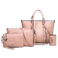H1028 - Retro Oil Wax 4pc Shoulder Handbag Set