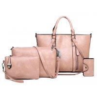H1028 - Retro Oil Wax 4pc Shoulder Handbag Set
