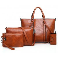 H1029 - Retro Oil Wax 4pc Shoulder Handbag Set
