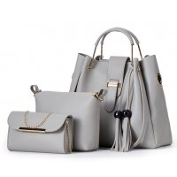 H1032 - Three Piece Bucket Tassel Shoulder Handbag Set