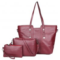 H1042 - Simple fashion large capacity three-piece ladies big