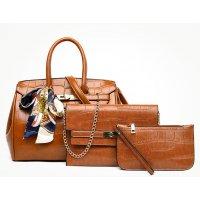H1070 - Fashion crocodile pattern three-piece Handbag Set