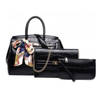 H1071 - Fashion crocodile pattern three-piece Handbag Set