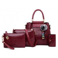 H1078 - Korean ladies woolen ball Handbag Set