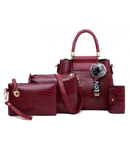 H1078 - Korean ladies woolen ball Handbag Set