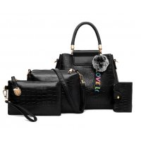 H1079 - Korean ladies woolen ball Handbag Set