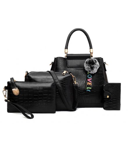 H1079 - Korean ladies woolen ball Handbag Set
