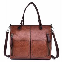 H1082 - Korean Simple Retro Wild Zipper Messenger Bag
