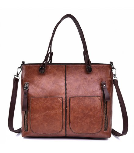 H1082 - Korean Simple Retro Wild Zipper Messenger Bag