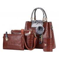 H1141 - Crocodile pattern Handbag Set
