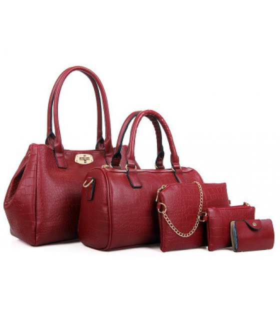 H1147 - Crocodile pattern Handbag Set