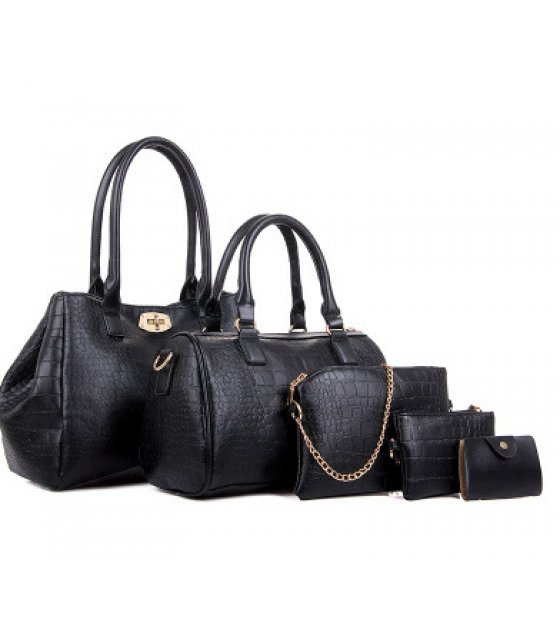 H1148 - Crocodile pattern Handbag Set