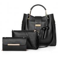 H1234- Fashion tassel three-piece bucket bag