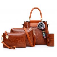 H1237 - Korean ladies woolen ball Handbag Set