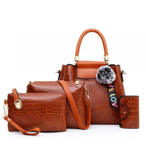 H1237 - Korean ladies woolen ball Handbag Set
