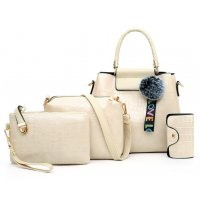 H1238 - Korean ladies woolen ball Handbag Set
