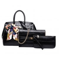 H1279 - Crocodile pattern multi-piece handbag