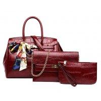 H1280 - Crocodile pattern multi-piece handbag