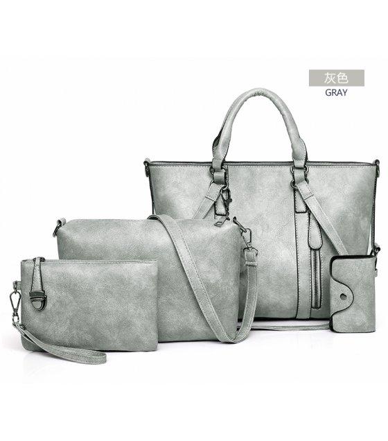 H1283 - Retro Oil Wax 4pc Shoulder Handbag Set