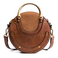 H1307 - Frosted stitching Round Handbag