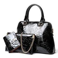 H1316 - Floral Embossed Handbag Set