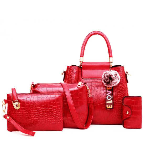 H1330 - Korean ladies woolen ball Handbag Set