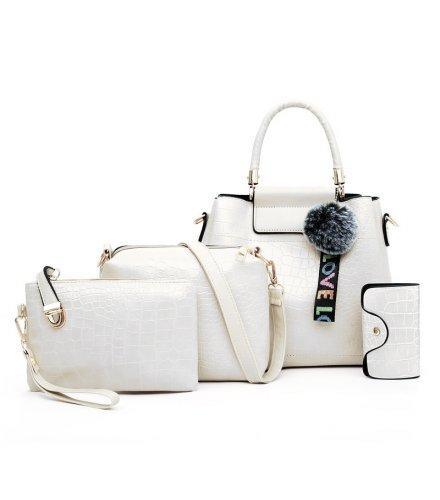 H1332 - Korean ladies woolen ball Handbag Set