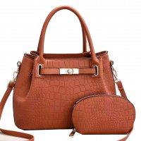 H1339 - Crocodile Pattern Two Piece Handbag Set