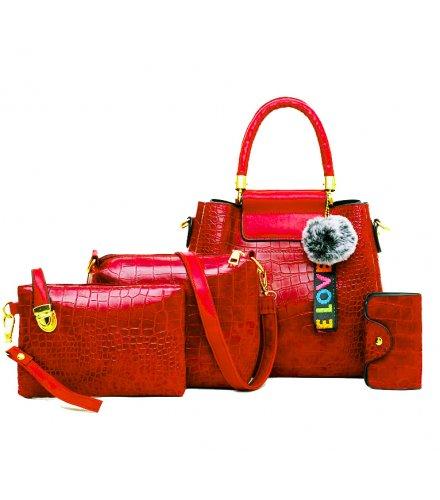H1348 - Korean ladies woolen ball Handbag Set