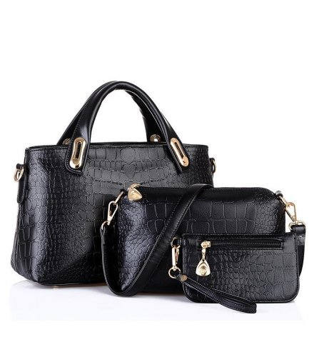 H228 - Black Hard Pu Leather Handbag