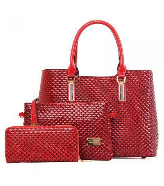 H309 - Red Crocodile Patterned Handbags Set