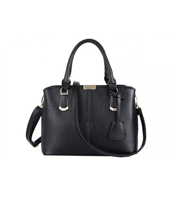 H316 - Hard Pu Leather Black Handbag