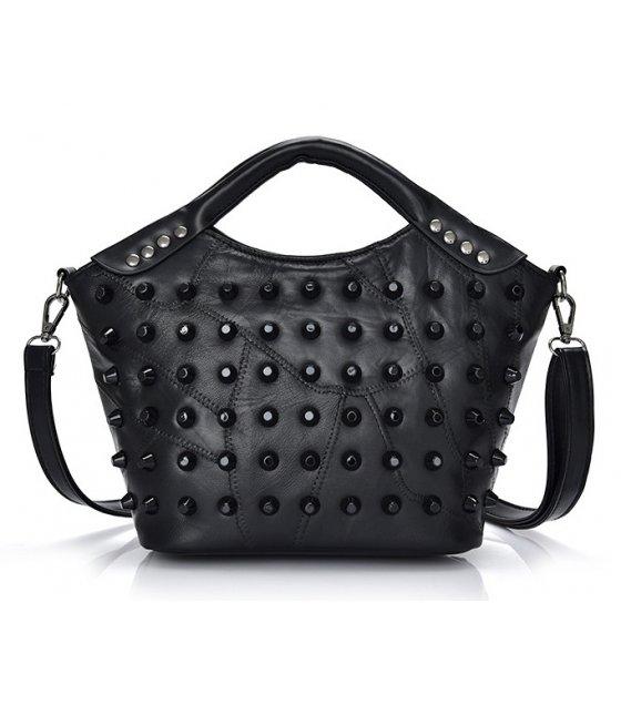 H497 - Black Studded Handbag
