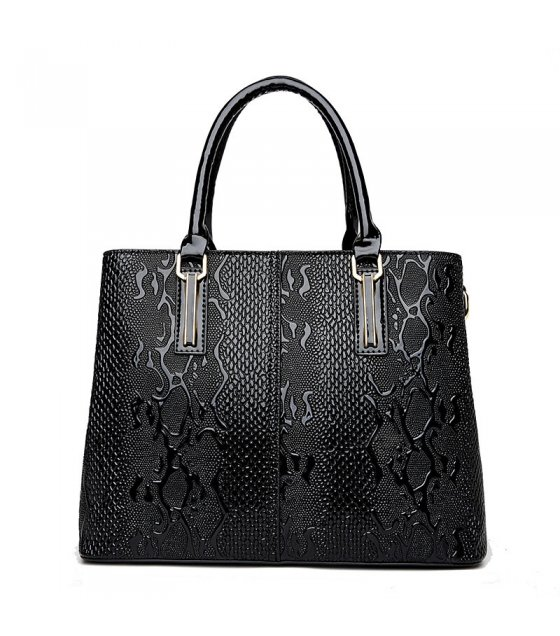H502 - Black Embossed Handbag