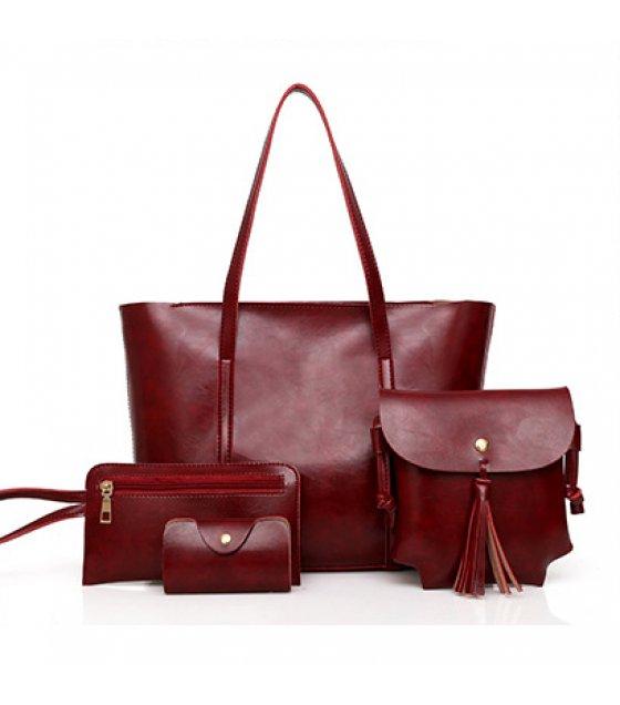 H673 - Korean retro handbags four-piece shoulder bag
