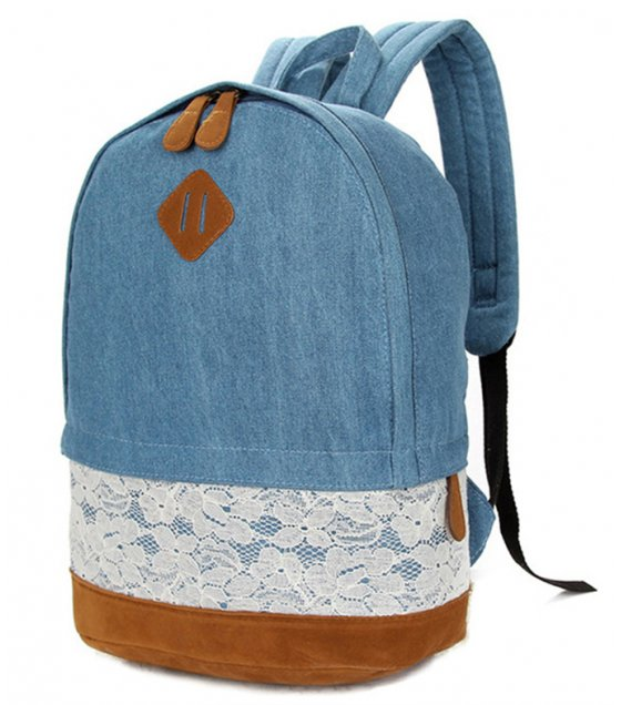 H705 - Blue Floral Canvas Bag