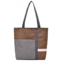 H831 - Stripe mosaic canvas ladies handbag