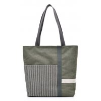 H832 - Stripe mosaic canvas ladies handbag