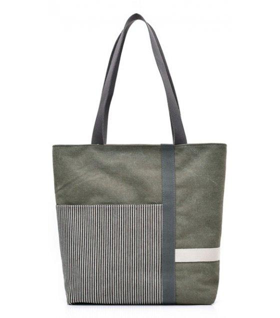 H832 - Stripe mosaic canvas ladies handbag