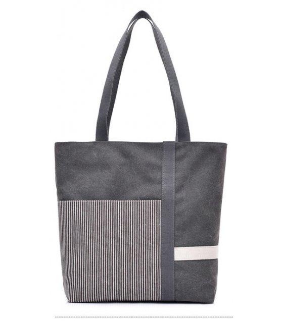 H833 - Stripe mosaic canvas ladies handbag