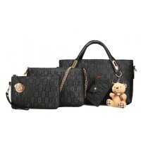 H915 - Embossed Korean Four Piece Handbag Set