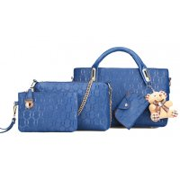 H916 - Embossed Korean Four Piece Handbag Set