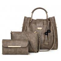 H978 - Fashion tassel three-piece bucket bag