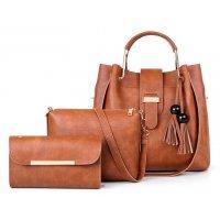 H980 - Fashion tassel three-piece bucket bag
